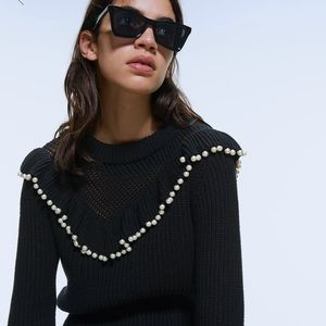 ZARA Ruffled Black Knit Sweater with Pearls NEW